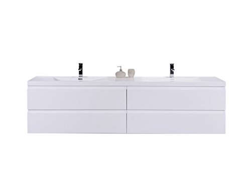 - Riddle Double Wall Mounted Modern Bathroom Vanity (84'', High Gloss White)