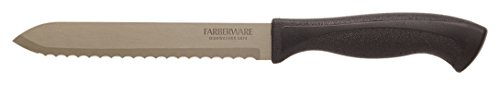 Farberware 5210359 Knife Armor Dishwasher Safe Stainless Steel Serrated Utility Knife with Textured Handle, 5.5-Inch, Black