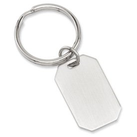 Solid Gift Boxed Engravable Rhodium-plated Satin Rectangle Key Ring
