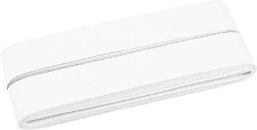 vorgefalzt 10 Meter L/änge 20 mm breit Wei/ß Zierstoff Unifarbenes Schr/ägband Baumwolle