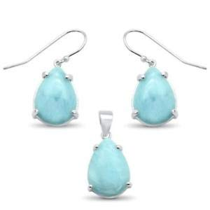Natural Larimar Pear Shape Dangle Earring & Pendant 925 Sterling Silver Set - Jewelry Accessories Key Chain Bracelet Necklace Pendants
