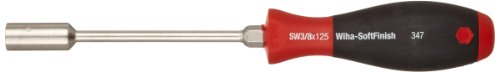 Wiha 34771 Nut Driver with Hex Bolster and SoftFinish Handle, Inch, 3/8