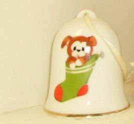 China Dog in Christmas Stocking Dinner Bell