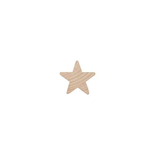 "Wood Star ¾"",small star, Natural Unfinished Wooden Star Cutout Shape (3/4 Inch) - Bag of 100"