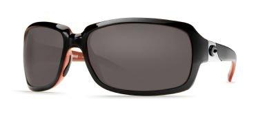 Costa Del Mar Isabela Sunglasses, Black/Coral, Gray 580G Lens by Costa Del Mar