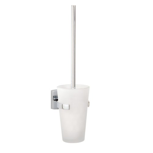 Klaam Wall Mount Toilet Bowl Brush Set-Frosted Glass Holder in Chrome by Nie Wieder Bohren