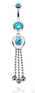 piercing nombril coeur bleu avec chaines de billes