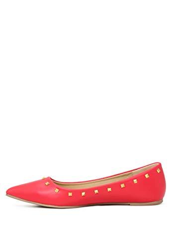 Rag Métalliques Clous London Ballerines Red Pointed Avec toe Femme pSw4wqZH