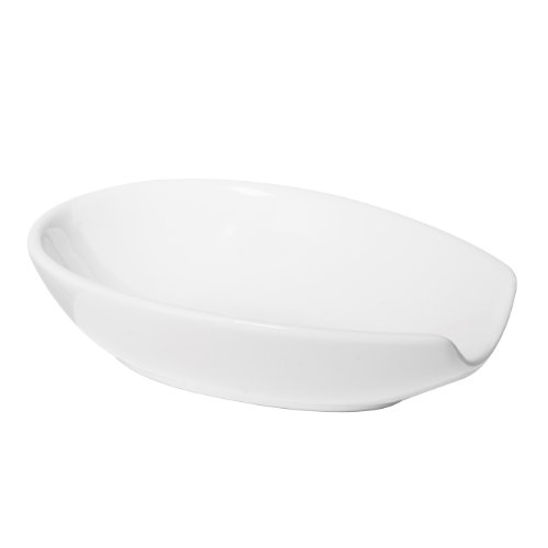 Oggi 5429.1 Ceramic Spoon Rest, White (Spoon Ceramic Rest White)