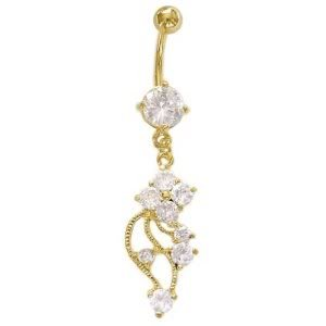 Crystal Clear Cubic Zirconia 24K gold plated Swirl Flower Vine dangle belly button navel ring 14 gauge
