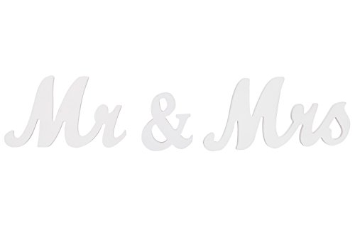 jollylife Vintage Affair MR & MRS White Wooden Letters Wedding Decoration/Present]()