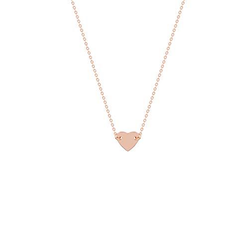 - S.J JEWELRY Fremttly Womens Simple Delicate Handmade 14K Gold Filled/Rose Gold/Silver Simple Delicate Heart and Bar Chokers Necklace for Mothers Day-CK6-Heart-S-Rose