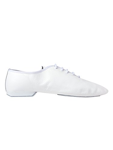 Rumpf Jazzschuhe Basic II 1270 für Gymnastik Jazz Tanz, Leder mit geteilter Chromledersohle Farbe weiß, Größe 40