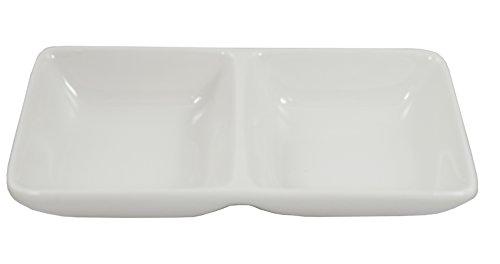 Super White 2 Compartment Porcelain Divided Dish (12 Count) (6