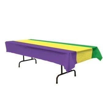 Mardi Gras Plastic Tablecloth 54'' x 108'' 6 Per Pack
