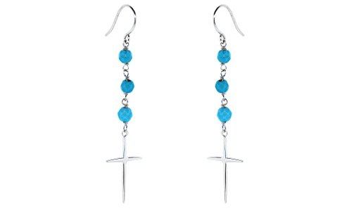 Sterling Silver Lab Created Turquoise Beaded Cross Drop Earrings