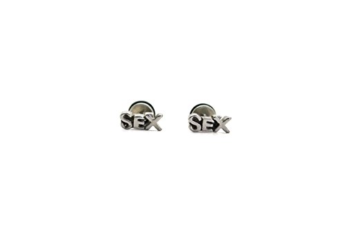 Chelsea Jewelry Basic Collections SEX Word Stud screw-back Earrings (Stainless Steel) (Earrings Words)