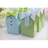 Little Man Party Supplies (Haperlare 50 pcs My Little Man Candy Favor Boxes Boy Baby Shower Party Favor Boxes with Blue Green Bow Tie Ribbon Paper Candy Bags for Blue Green Gingham Party Decorations)