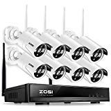 ZOSI 8CH Wireless Security Cameras System,8 Weatherproof 1.3MP 960P 100ft Night Vision IP CCTV Cameras,8 Channel 960P Auto Pair WiFi NVR System, Motion Alert, Smartphone Remote Access(No Hard Drive)