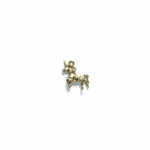 (Shipwreck Beads Pewter Unicorn Charm, Metallic, Antique Gold, 18 by 20mm, 4-Piece)