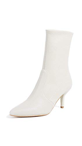 Stuart Weitzman Womens Cling Leather Pointed Toe Ankle, Snow White, Size 10.0