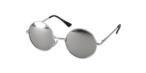 Silver Mirror Round Lens Teashades Sunglasses John Ozzy 60s Vintage Retro - Sunglasses Teashade
