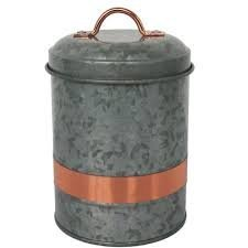Galvanized & Copper Small Canister