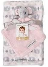 Blankets and Beyond 2 Piece Pink White & Grey Tapestry Elephant Print Blanket with Plush Elephant Security Blanket