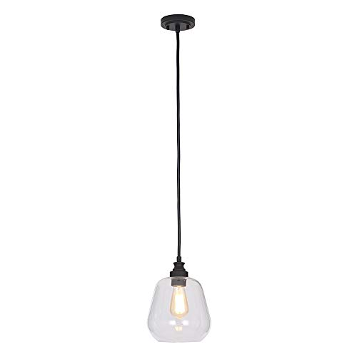 Stone Beam Glass Shade Pendant Light Chandelier with LED Light Bulb – 8.5 x 8.5 x 11 Inches, 84.75 Inch Cord, Bronze