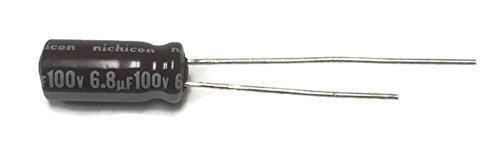 - Set of 10, Nichicon 105°C Electrolytic Capacitor 6.8uF 100V (6.8 mfd 100V) 20% Radial, 3/16