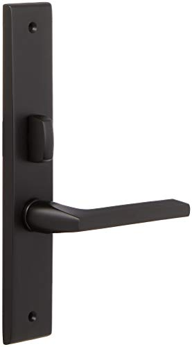 (Baldwin 6974.ENTR Lakeshore Lever Single Cylinder Mortise Handleset Trim Set, Satin Black)