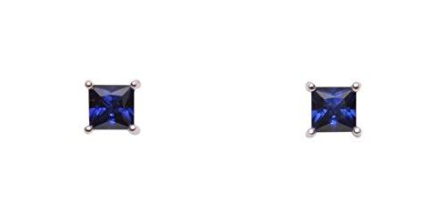 Boucles d'oreilles argent saphir carré Silvacci