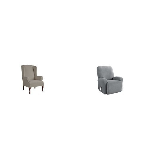 Serta 1 Piece Reversible Stretch Suede T Wingback Chair Slipcover, Graphite/Gray and Serta 4 Piece Stretch Grid Recliner Slipcover, Gray by Serta