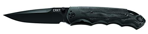 (CRKT Fire Spark EDC Folding Pocket Knife: Assisted Opening Everyday Carry, Spear Point Black Blade, Fire Safe Thumb Stud, Locking Liner, Aluminum and G10 Handle, 4-Position Pocket Clip 1050K)
