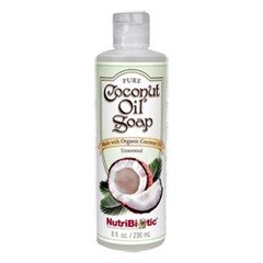 Nutribiotic Pure Coconut Oil Soap, Unscented, 8 Fluid Ounce