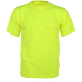 GSS Safety 5501 Moisture Wicking Short Sleeve Safety T-Shirt with Chest Pocket - Lime, XL (5501-XL)