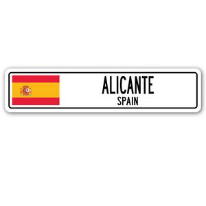 ALICANTE, SPAIN Street Sign Sticker Decal Wall Window Door Spaniard flag city country road wall 22 x 6 by Vinyl USA