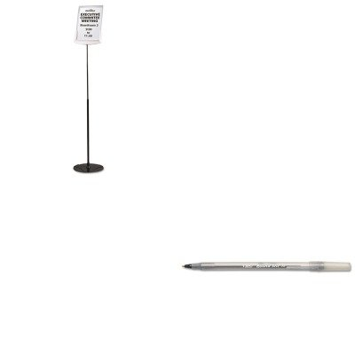 57 - Value Kit - Durable Sherpa Infobase Sign Stand (DBL558957) and BIC Round Stic Ballpoint Stick Pen (BICGSM11BK) (Infobase Sign Stand)