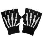 TRJAQB Cool Skeleton Skull Pattern Knitting Wool Fingerless Glove-Black/White Skeleton