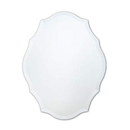 Frameless Mirror | Bathroom, Bedroom, Accent Mirror | Oval with Scalloped - Bathroom Mirrors Unframed Large
