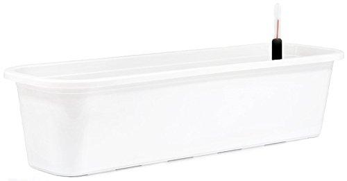 Blumenkasten mit Untersetzer und Wasserspeicher Blumentopf Balkonkasten 4 Größen 8 Farben Neu ! (80 cm, weiß)