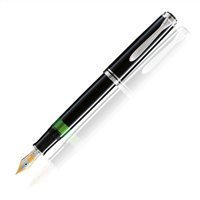 PELIKAN Souveran Fountain Pen, Black/Silver (925438) by Pelikan