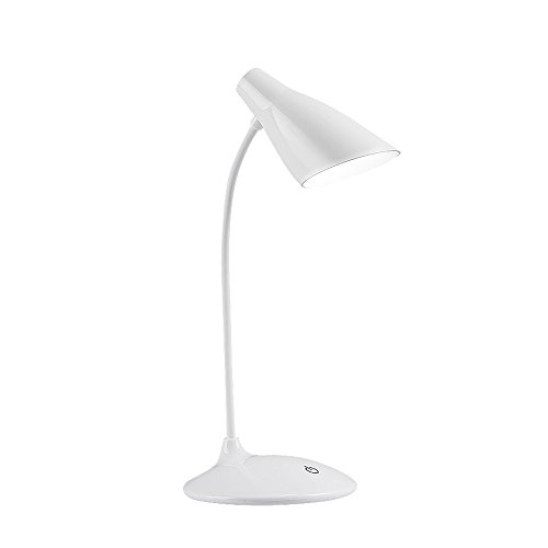 LED Desk Lamp, Flexible Gooseneck Table Lamp, Dimmable Office Reading Lamp with USB Charging Port, Rechargeable, 3 Brightness Levels, White by Arkim