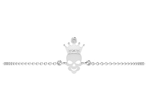Or Blanc 14 ct Bracelet Diamant en forme de crâne, 0.01 Ct Diamant, GH-SI, 1.83 grammes.