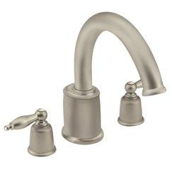 Moen t6988stst castleby two handle roman tub filler trim kit satine satine tub filler faucets for Moen castleby bathroom faucet