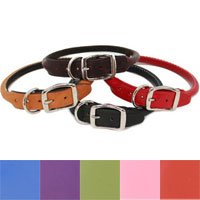"Auburn Leathercrafters Rolled Leather Dog Collar - 1"" X 18"" Burgundy"