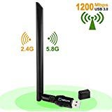 AMBOLOVE AC1200Mbps USB Wifi Adapter, USB3.0 Wireless Network Lan Card Wifi Dongle with 5dBi Antenna Dual Band for PC/Desktop/Laptop/Tablet Windows 10/8.1/8/7/XP/Mac OS 10.9-10.13/ Linux(2.6.24-4.7)