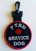 """PTSD Service Dog"" - Double Sided Patch - Clip on ID Tag Register My Service Animal LLC CPPTSD"
