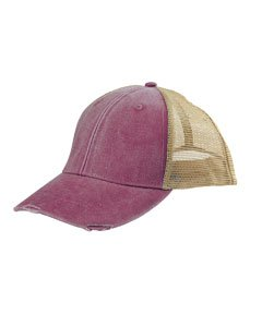 Adams OL102 - 6-Panel Pigment-Dyed Distressed Trucker Cap (Twill Cap Dyed Solid Pigment)