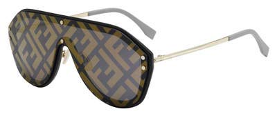 (Fendi Men FF M0039/G/S 2M2 7Y Black Gold Plastic Shield Sunglasses Gold Fendi Print Mirror)